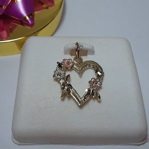 Jewelry - 3color Floral Heart 14Kt Charm Top Pendant #12901